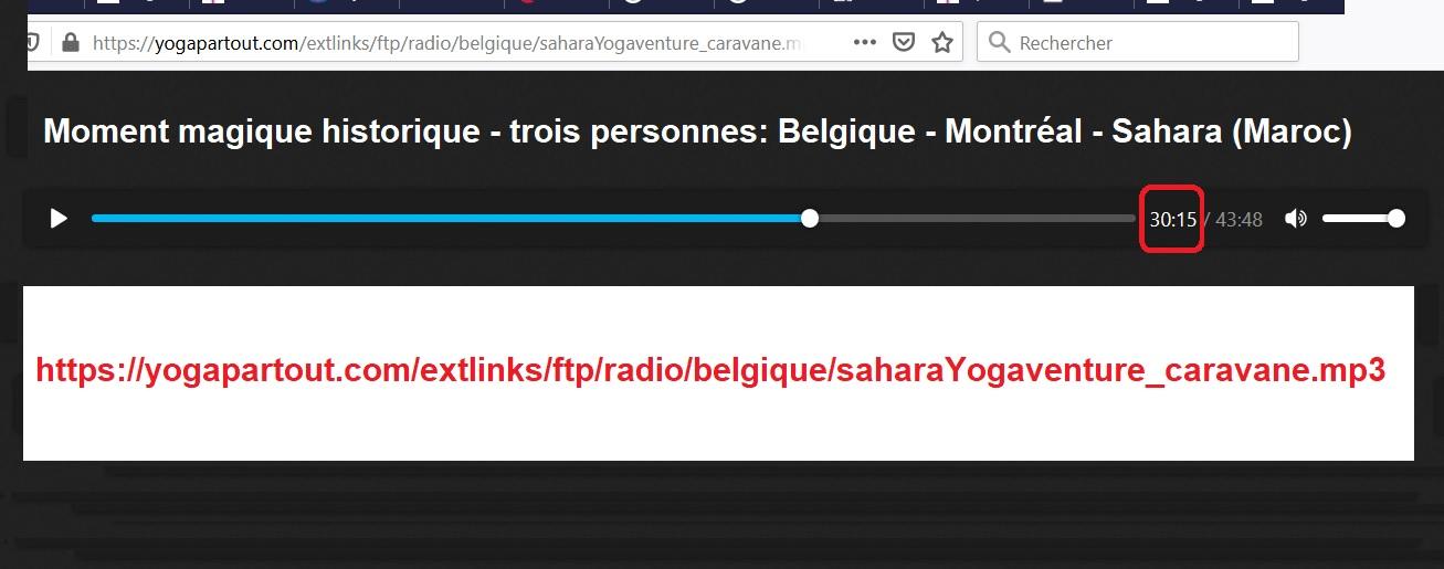 Écoutez cette entrevue qui se déroule entre la Belgique, Montréal et le désert du Sahara